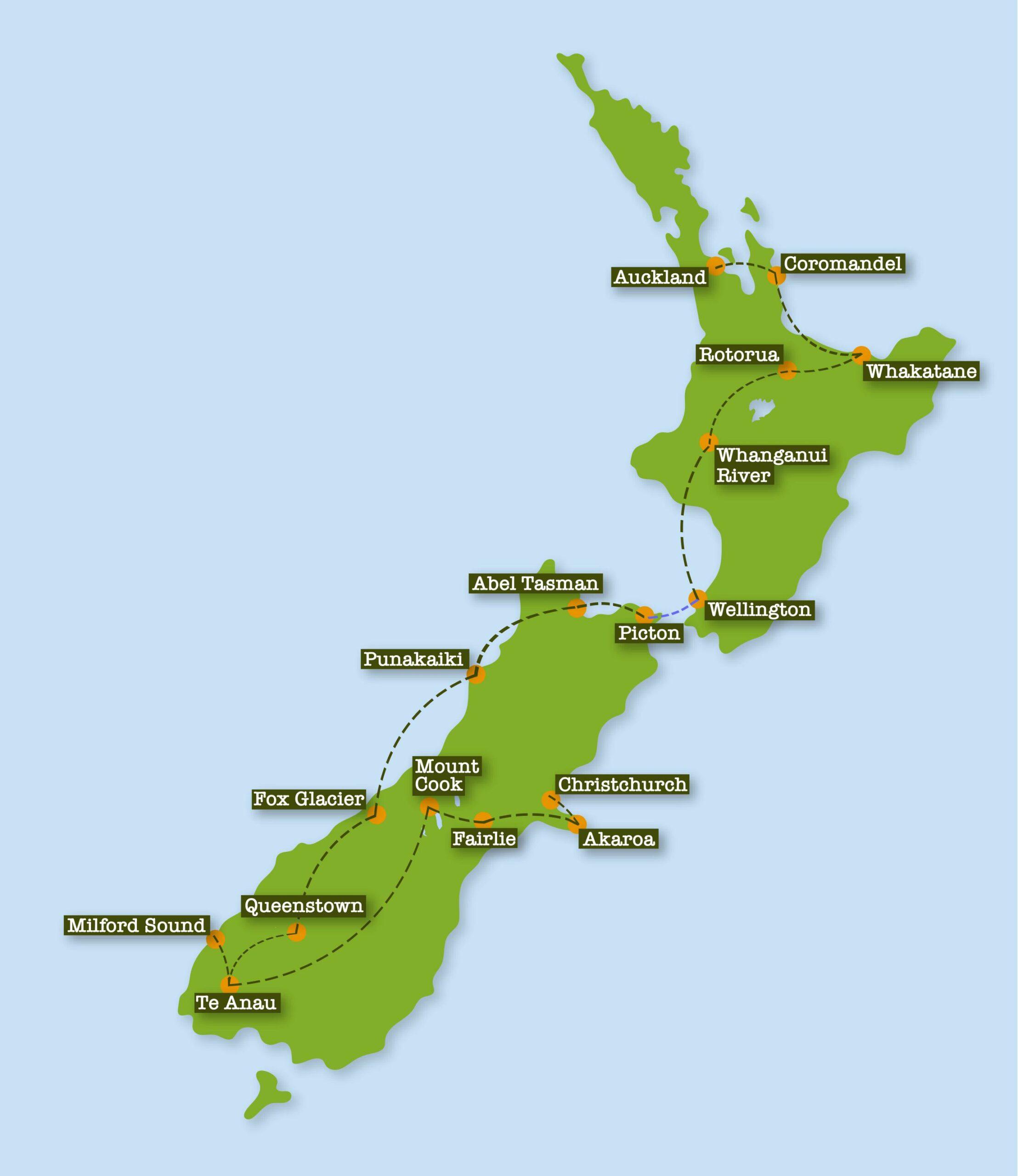 ANZ Nature Tours Safari Tour Map